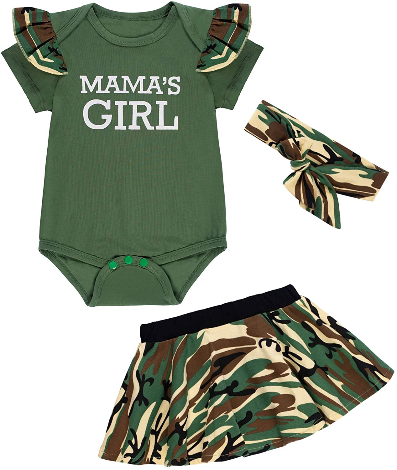 Baby Boy Girl Mommy Sayings Camouflage Clothes Pant Set Short Outfits with Headband