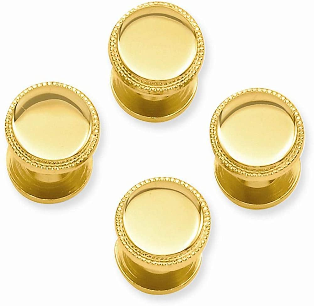 Gold Plated Four Piece Beaded Tuxedo Studs
