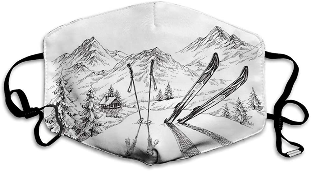 BOKUTT Decorative mouth cover,Sports, Winter Seasonal Activity Skiing with Gear on the Mountain Peak Everest Sketchy Image,White4334