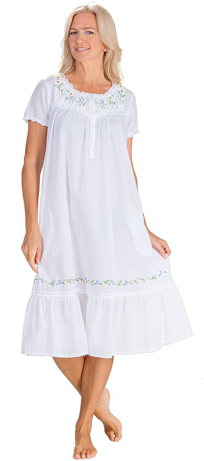 La Cera Nightgowns - 100% Cotton Short Sleeve Gown in Sunny Flowers