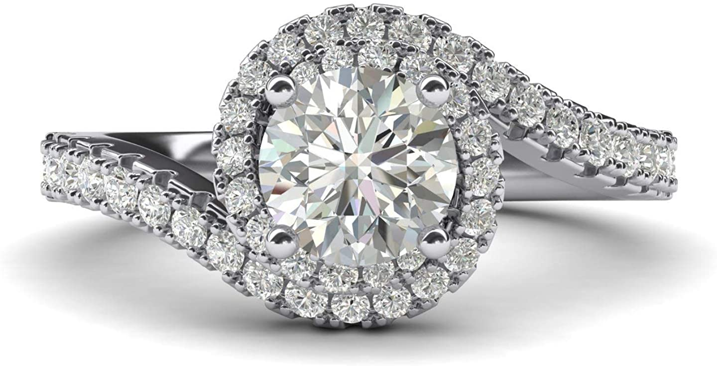 Women Solid Sterling Silver Opulence Twisting Halo 1 Carat Simulated Brilliant Round Diamond Engagement Ring