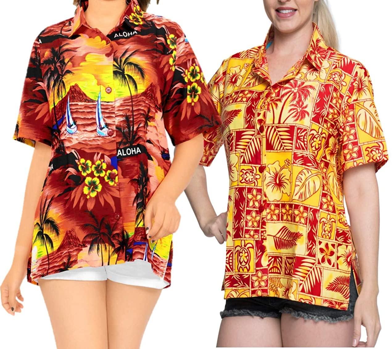 LA LEELA Women's Beach Hawaiian Shirt Dress Casual Button Down Shirts XL Work from Home Clothes Women Blouse Pack of 2