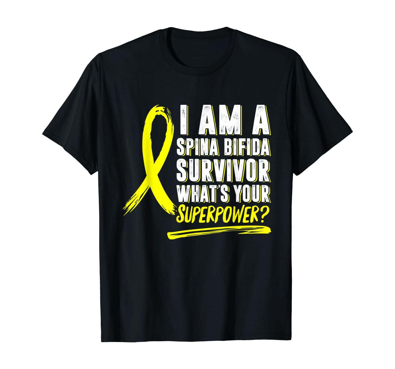 Spina Bifida Awareness Split Spine Survivor Yellow Mom Baby T-Shirt