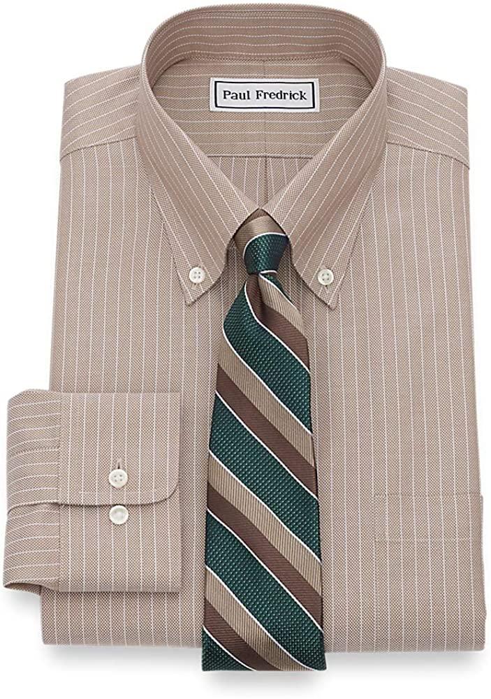 Paul Fredrick Mens Tailored Fit Non-Iron Textured Stripe Dress Shirt