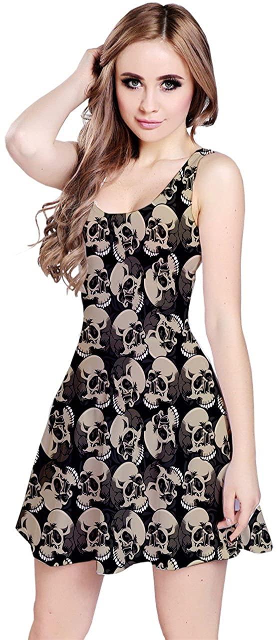 CowCow Womens Black Skulls Pattern Sleeveless Skater Dress