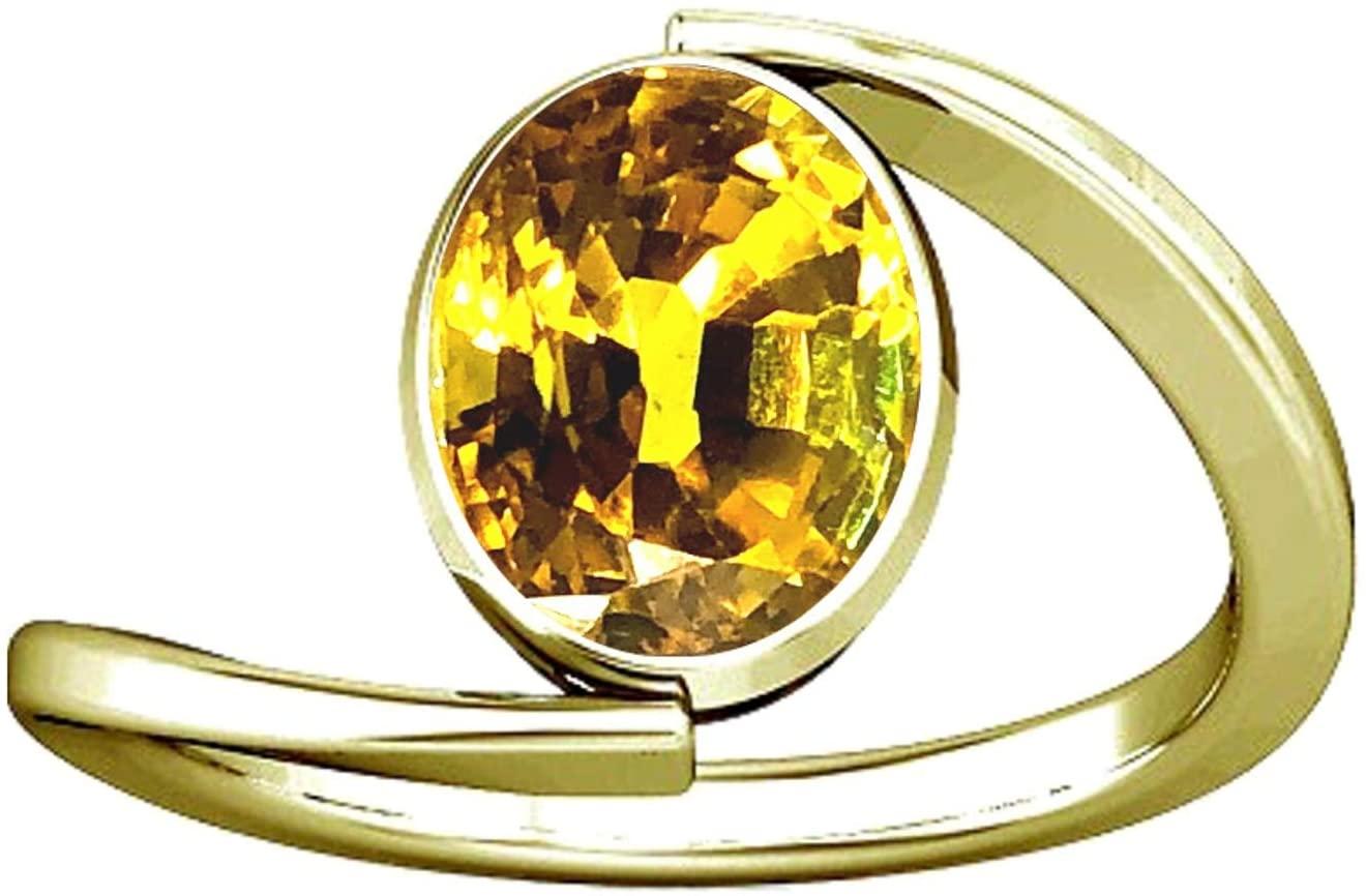 Divya Shakti 12.25-12.50 Carats Yellow Sapphire Ring (Pukhraj Stone Panchadhatu Ring) 100% Original Natural AAA Quality Gemstone for Women (7)