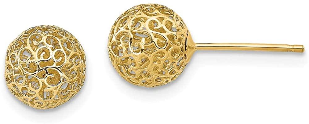 Leslies 14K Yellow Gold 7.75mm Filigree Ball Post Earrings
