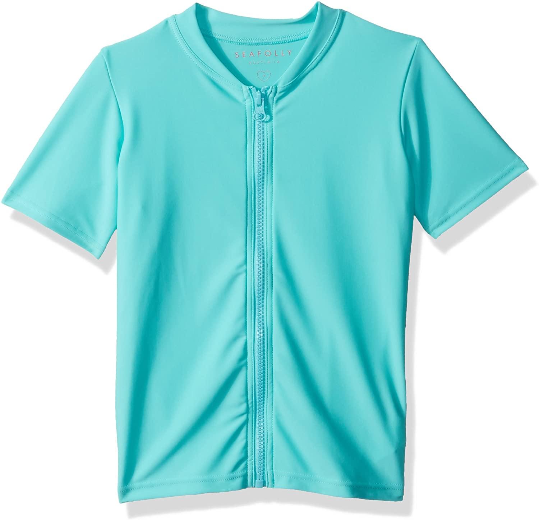 Seafolly Girls' Little S/S Zip Front Rashie Swimsuit