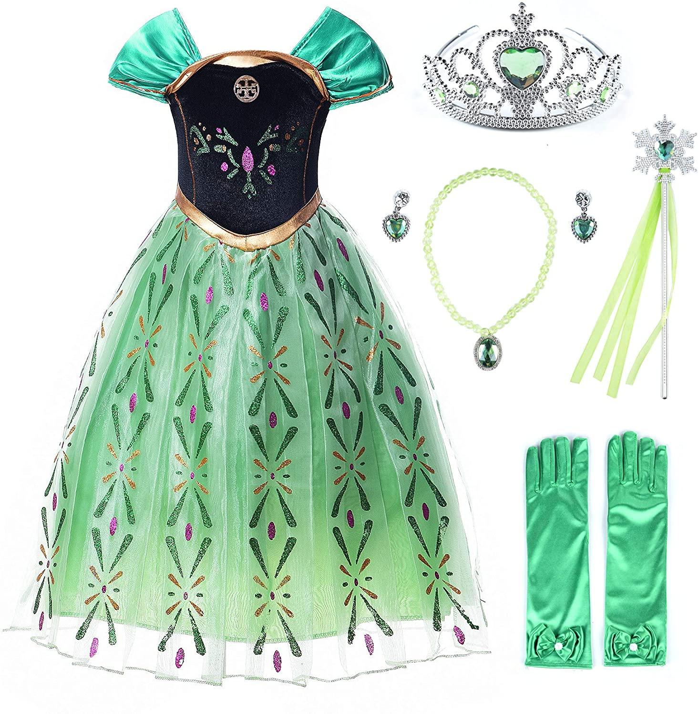 JerrisApparel Girls Princess Costume Snow Party Halloween Cosplay Fancy Dress