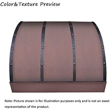 SINDA Classic Handmade Copper Range Hood with Powerful Range Hood Inserts, LED light, Exhaust Fan, Stainless Filter, H4LTRSCW4824, 48