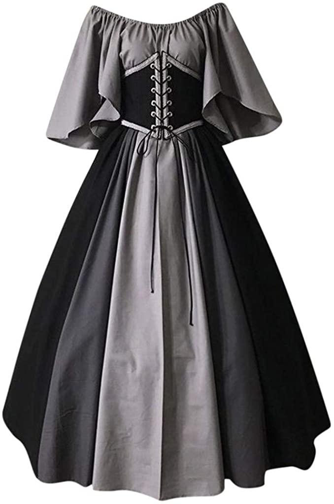 Women's Gothic Cosplay Dress Vintage Celtic Medieval Floor Length Renaissance Dress Lace up Irish Over Long Dresses