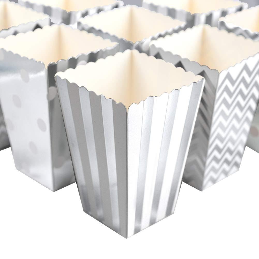HANSGO Small Popcorn Boxes, 24PCS Striped Popcorn Paper Bags Popcorn Containers Cardboard Candy Containers for Carnival Movie Theater