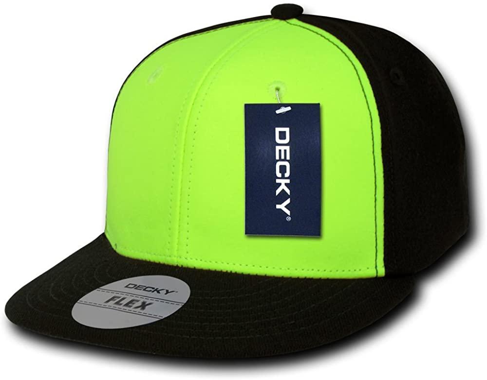 DECKY 2 Tone Neon Flat Bill Flex Cap