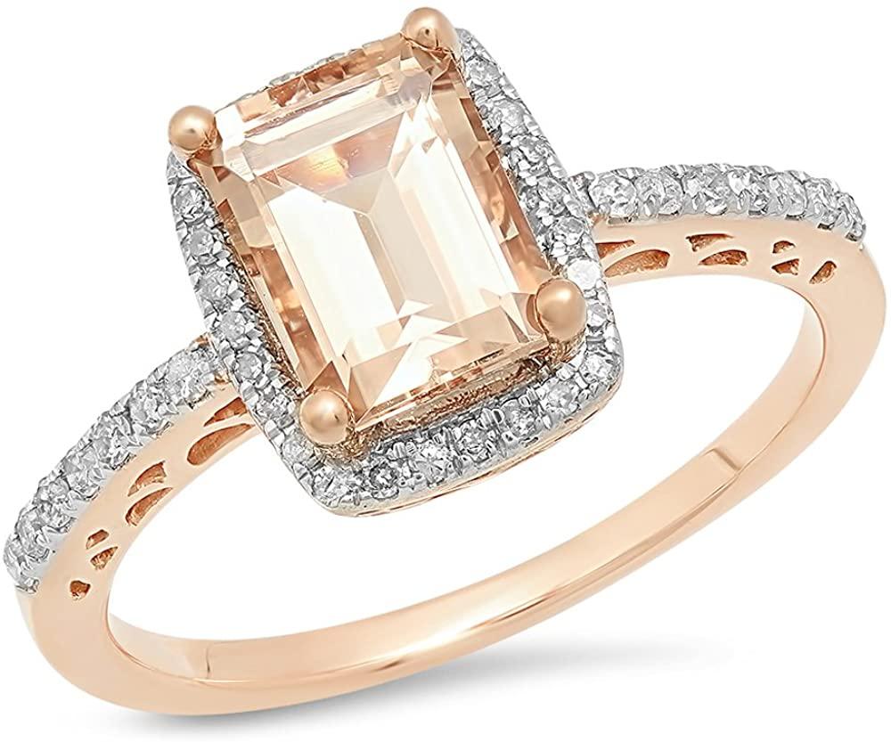 Dazzlingrock Collection 10K Emerald Morganite & Round White Diamond Ladies Bridal Halo Style Engagement Ring, Rose Gold
