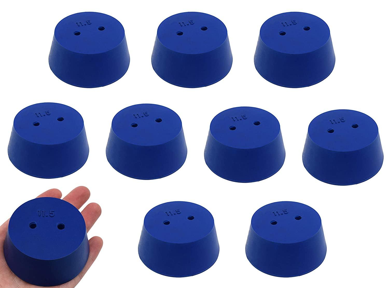 Neoprene Stopper, ASTM - Pack of 10-2 Holes - Blue, Size #11.5: 50mm Bottom, 63mm Top, 25mm Length - Eisco Labs