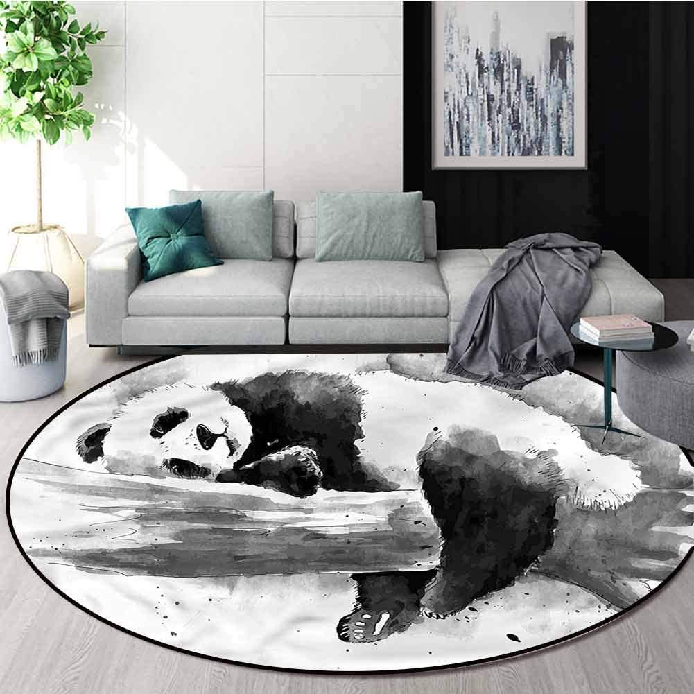RUGSMAT Panda Non-Slip Area Rug Pad Round,Sleeping Panda Non-Slip No-Shedding Kitchen Soft Floor Mat Round-51