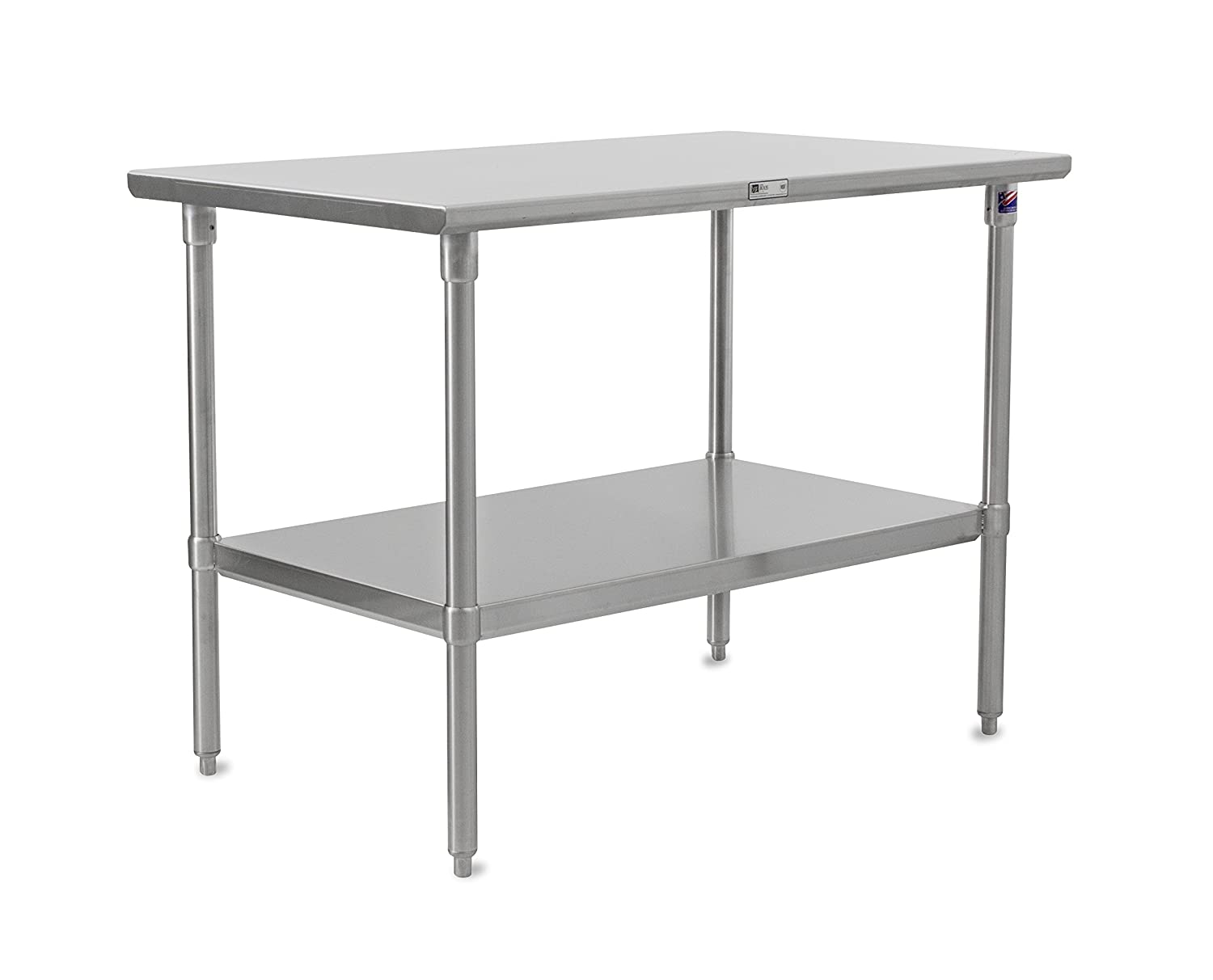 John Boos Stallion ST6-2430SSK Stainless Steel Flat Top Work Table with Adjustable Stainless Steel Lower Shelf and Legs, 30