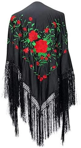 La Senorita Spanish Flamenco Dance Shawl Black Red Green with Red Fringes Large