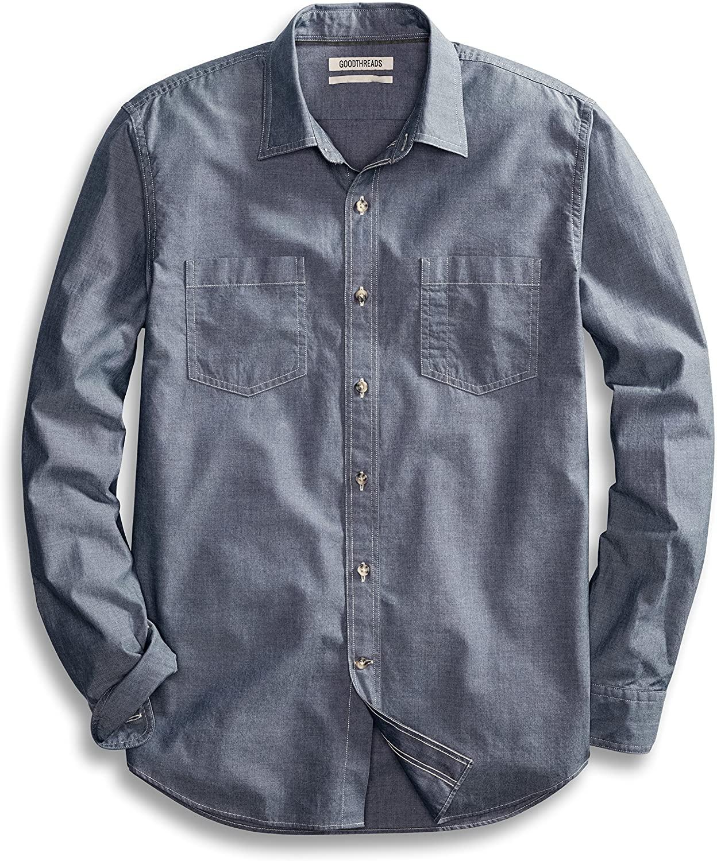 DHgate Brand - Goodthreads Men's Standard-Fit Long-Sleeve Double Pocket Work Shirt