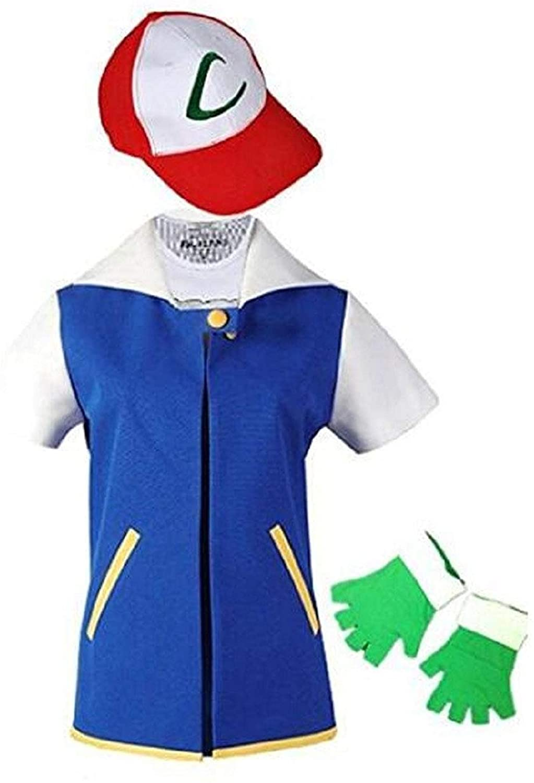 Adult Kids Ash Ketchum Cosplay Costume Jacket Gloves Hat Set Trainer Halloween Hoodie