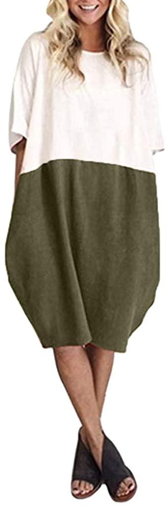 terbklf Women Casual Loose Linen Knee-Length Dress Solid Patchwork Half Sleeve Pocket Dress Summer Elegant Sundress Tops