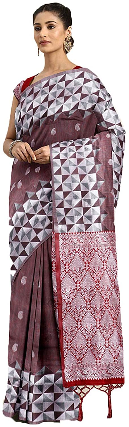 Saree for Women Bollywood Wedding Designer Mauve Sari with Unstitched Blouse.
