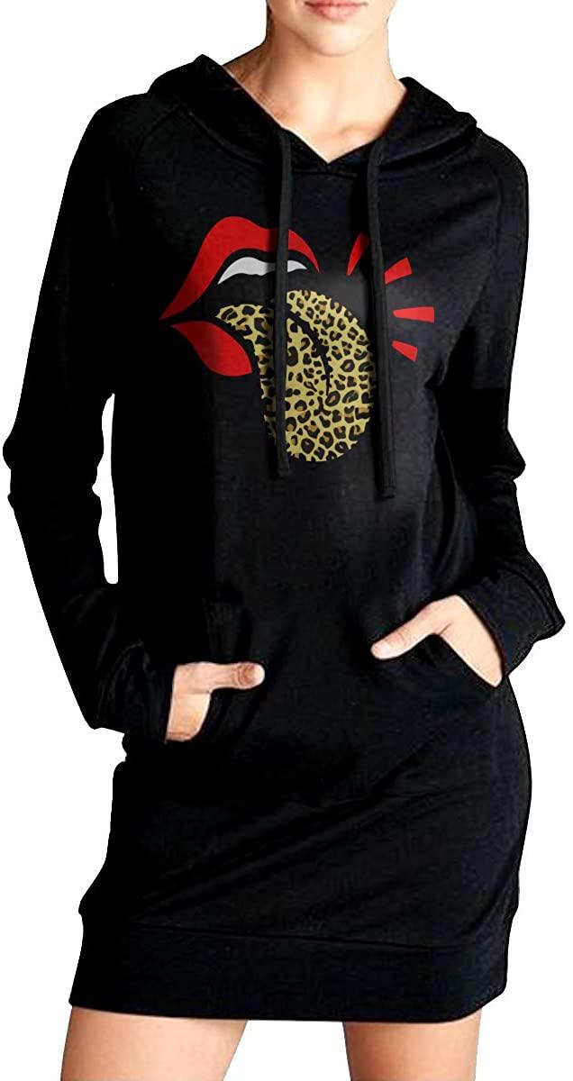 Red Lips Leopard Women's Sweater Cardigan Loose Long Sleeve Hoodie
