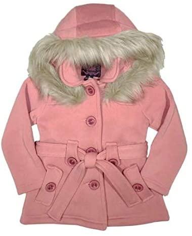 unik Girl Fleece Coat with Detachable Fur Lined Hood and Belt Black Fuchsia Grey Navy Red Burgundy