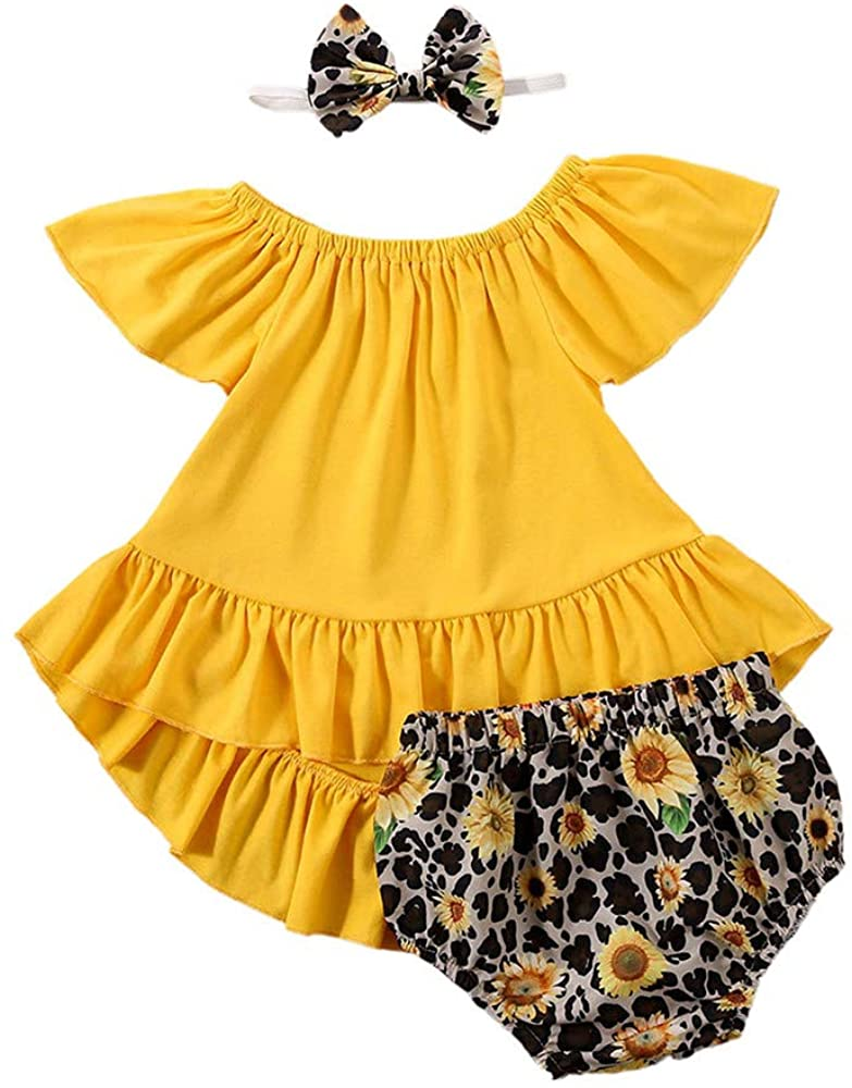 Infant Baby Girls Summer Bloomer Outfits Ruffle Top Shirt Dress & Floral Shorts Cute Clothes Sets+Headband