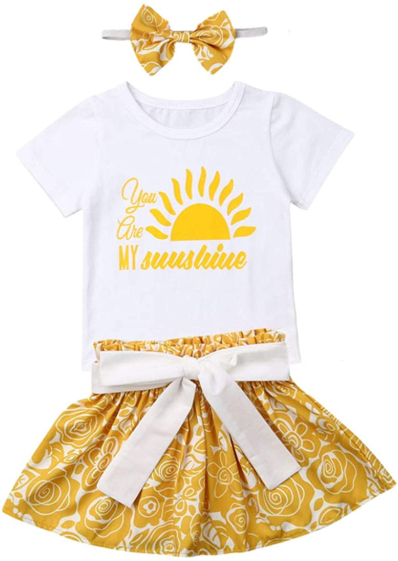 You are My Sunshine Letter and Sun Top Blouse +Yellow Flower Ruffle Skirt Dress +Bow-Knot Headband Outfit Set