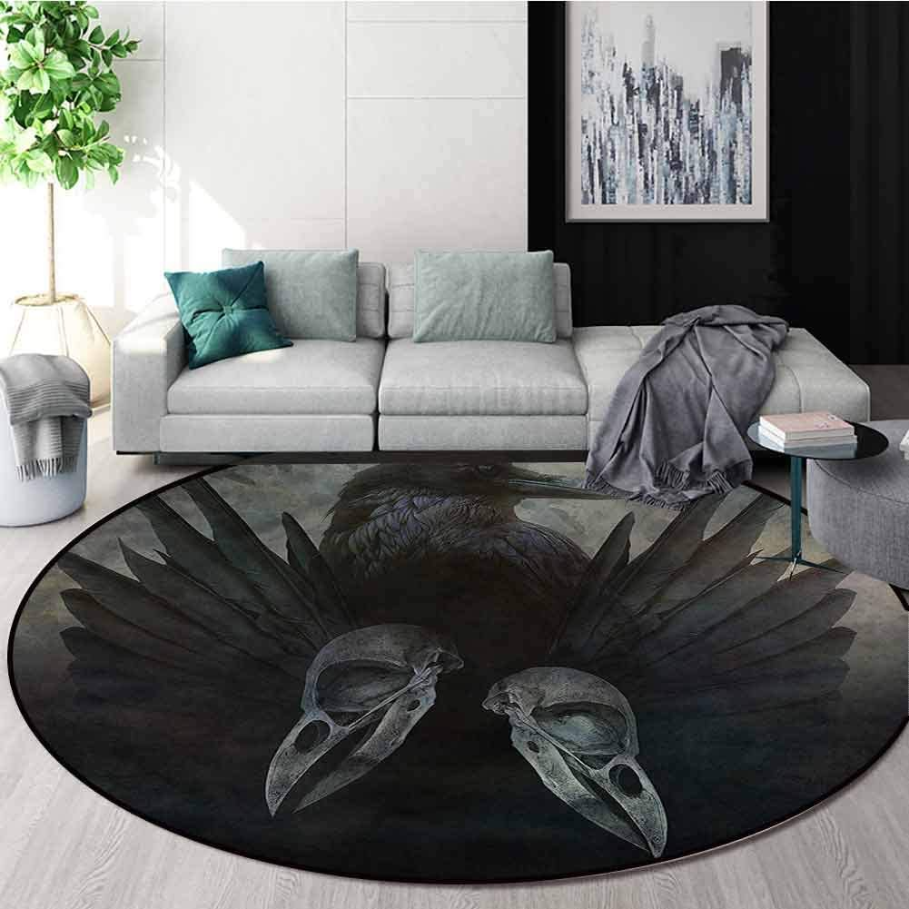 RUGSMAT Gothic Modern Washable Round Bath Mat,Mystic Crow Spirit Wings Coffee Table Mat Non-Skid Living Room Carpet Diameter-31
