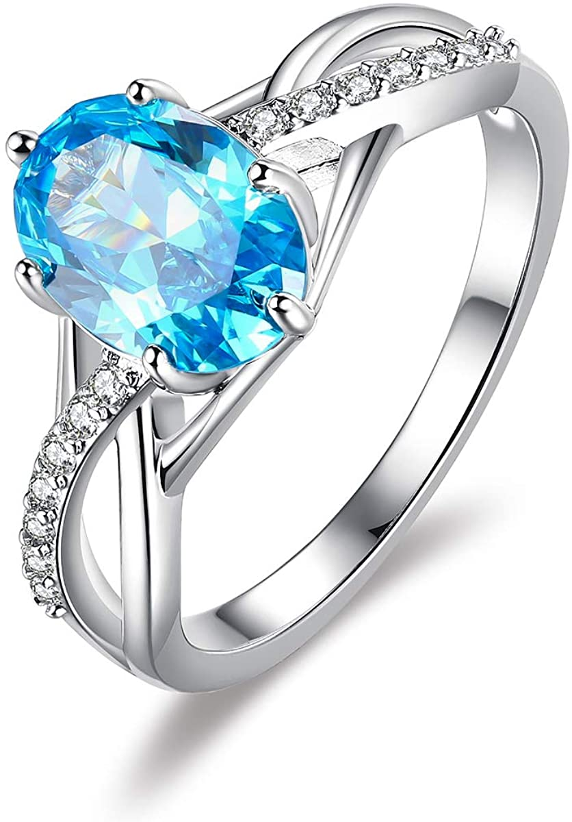 LAZLUVU Blue Stone Engagement Rings for Women White Gold Plated Statement Ring Mothers Day Jewelry Gifts Size 5-10