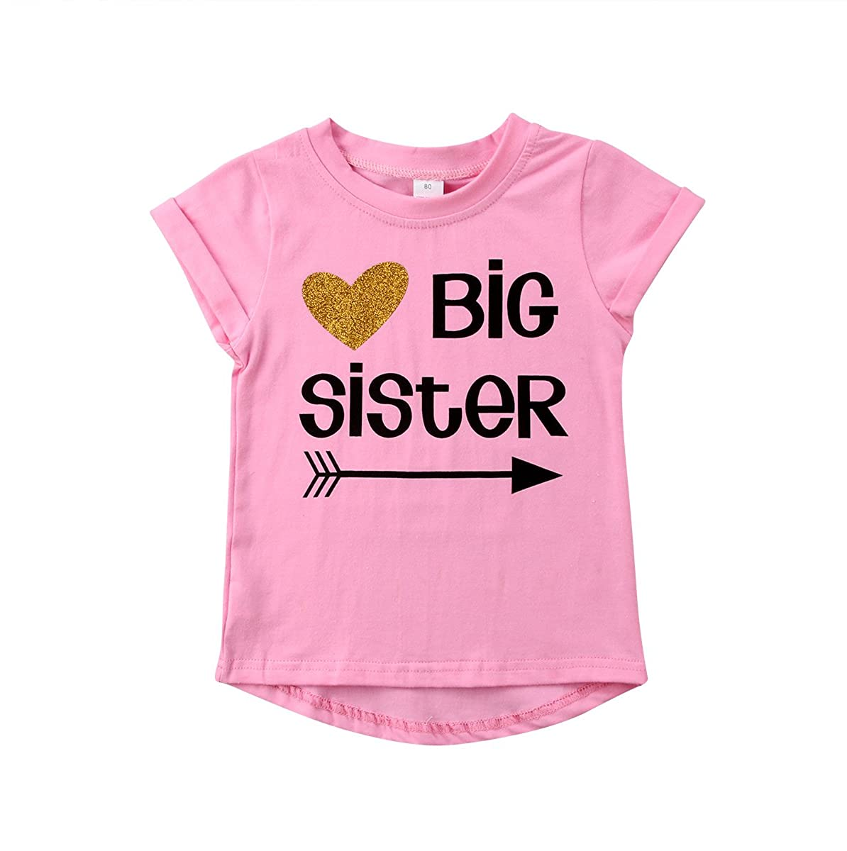 Big Sister & Little Sister Clothing Family Matching Girls Fitted T-Shirt & Toddler Baby Girls Bodysuit Set (Big Sister Shirt, 2-3Y)