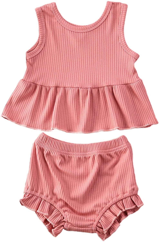 Baby Girl Shorts Clothes Ruffle Sleeveless Dress Top Short Pants Summer 2pcs Knitted Outfits
