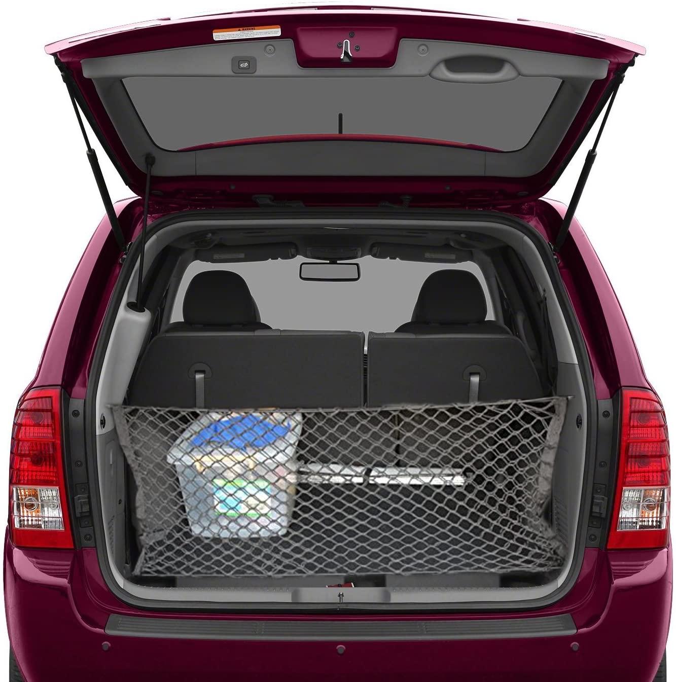 lebogner Trunk Storage Net Car Trunk Organizer, Mesh Net Hammock Cargo Storage Vehicle Organizer with 3 Mounting Options, Premium Quality Universal Fit Car Organizer