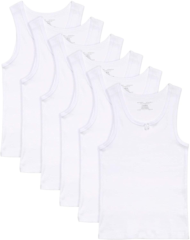 Rene Rofe Girls White Undershirt Tank Top - Supersoft Tagless Snug Fit (6 Pack)