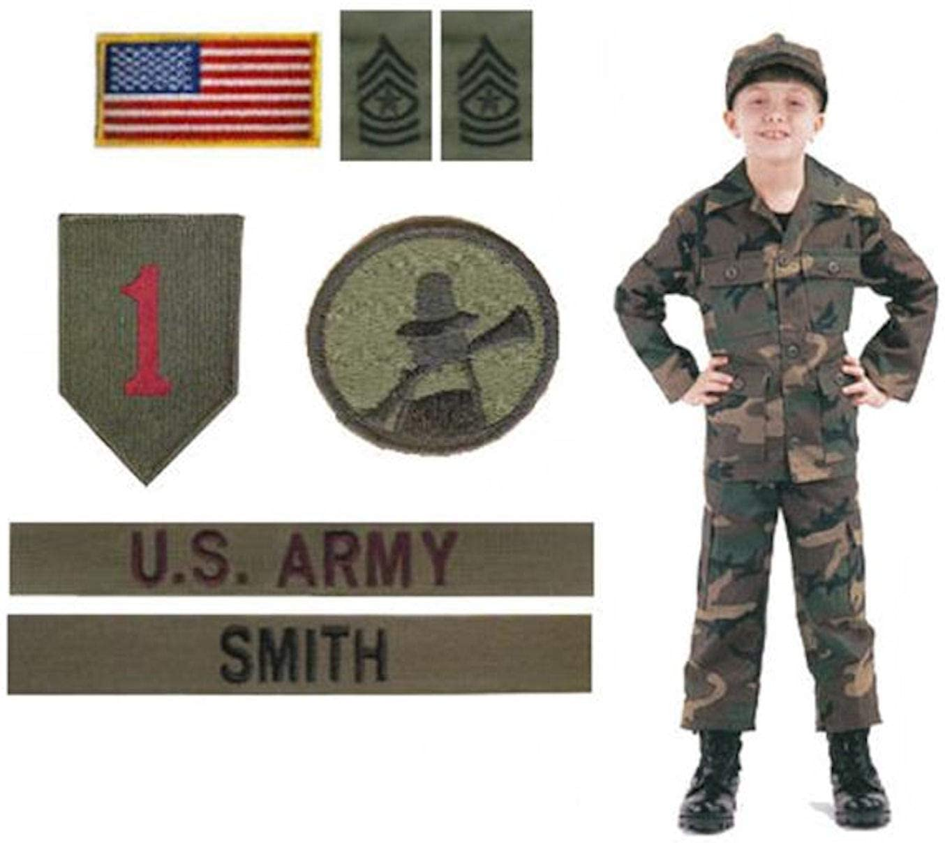 Kids Woodland BDU Military Uniform Army Costume (Small)