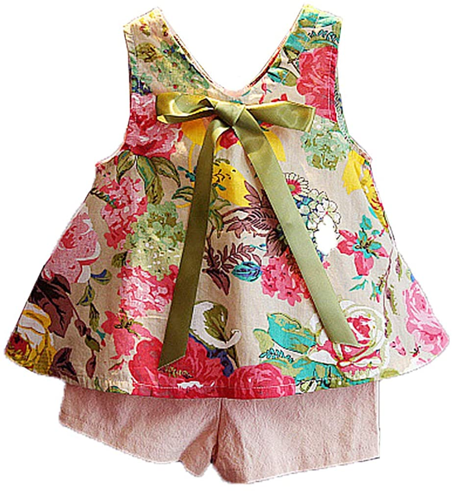 Peacolate 6-36M Infant&Little Girls Bow Tie Printing Dress&Shorts 2pc Clothes Set