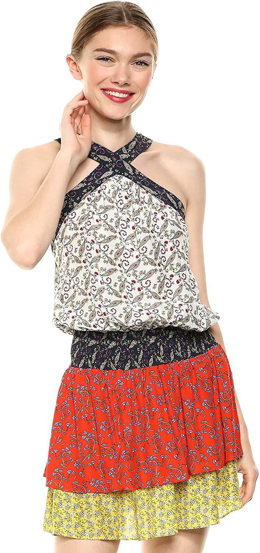Ramy Brook Womens Floral Printed Crystal Criss Cross Neck Mini Dress