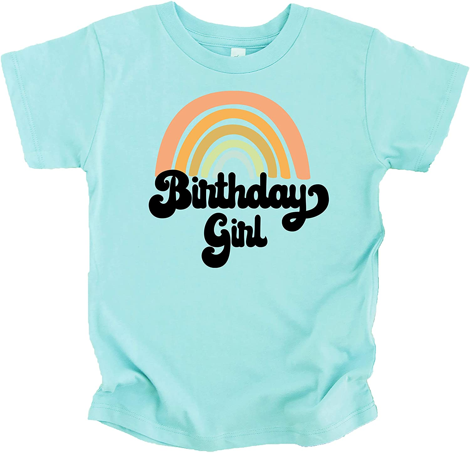 Retro Rainbow Birthday Girl Colorful Shirts for Baby and Toddler Girls Birthday Outfits