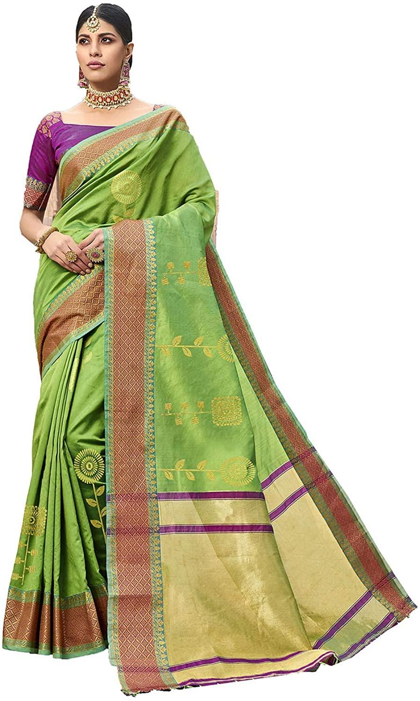 Indian Saree for Women Ethnic Sari Green Silk Sari with Unstitched Blouse. ICW2738-2