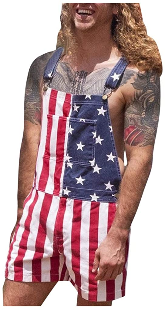 GGGOOD BUY Men's Rompers American Flag Printed One Piece Short Sleeve Summer Jumpsuit Overall Shorts Pocket Independence Day