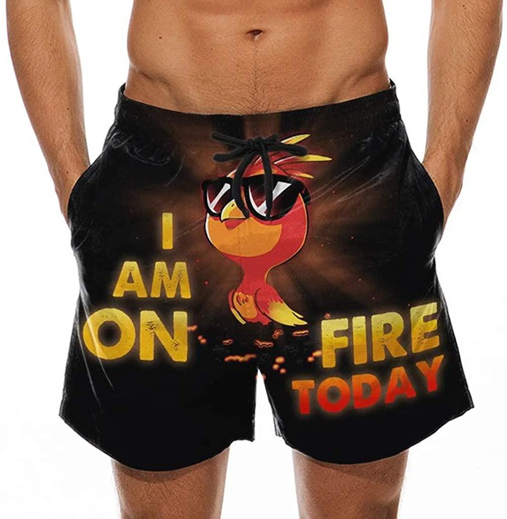 OMINA Men's Drawstring Beach Shorts Flat Front Short Pants Funny Graphic Print Elastic Waist Capri Pant with Pockets