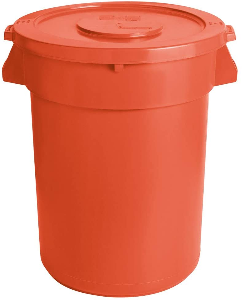 PRO&Family 10 Pack! 32 Gallon Orange Round Ingredient Bin/Commercial Trash Can and Lid. Commercial Trash Container. Ingredient bin. Garbage. Waste Bin. Home, Office Trash Can. Commercial