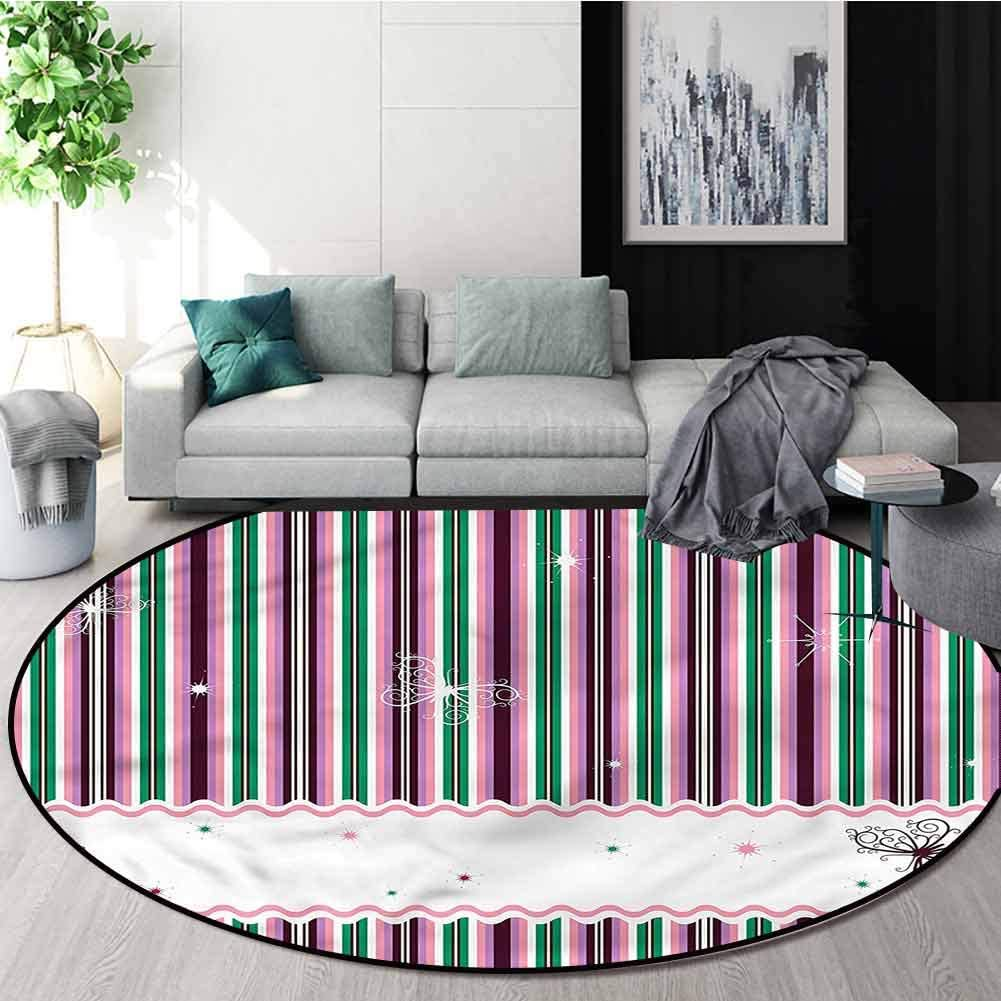 RUGSMAT Striped Modern Simple Round Rug,Abstract Butterflies Nature Pattern Floor Seat Pad Home Decorative Indoor Diameter-35