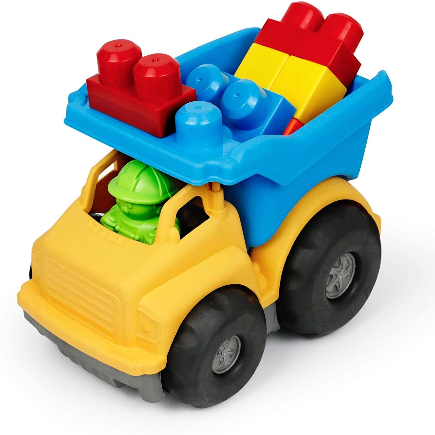 Bambiya Dump Truck Toy Play Set – 9 Pieces Toy: Building Blocks for Kids and Builder Figure – BPA Free, Phthalates Free Play Toys for Gross Motor, Fine Motor Skill Development. Pretend Play.