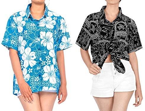 LA LEELA Women's Beach Hawaiian Shirt Tank Tunic Blouse Tops Cover Up Work from Home Clothes Women Beach Shirt Blouse Shirt Combo Pack of 2 Size X - Large