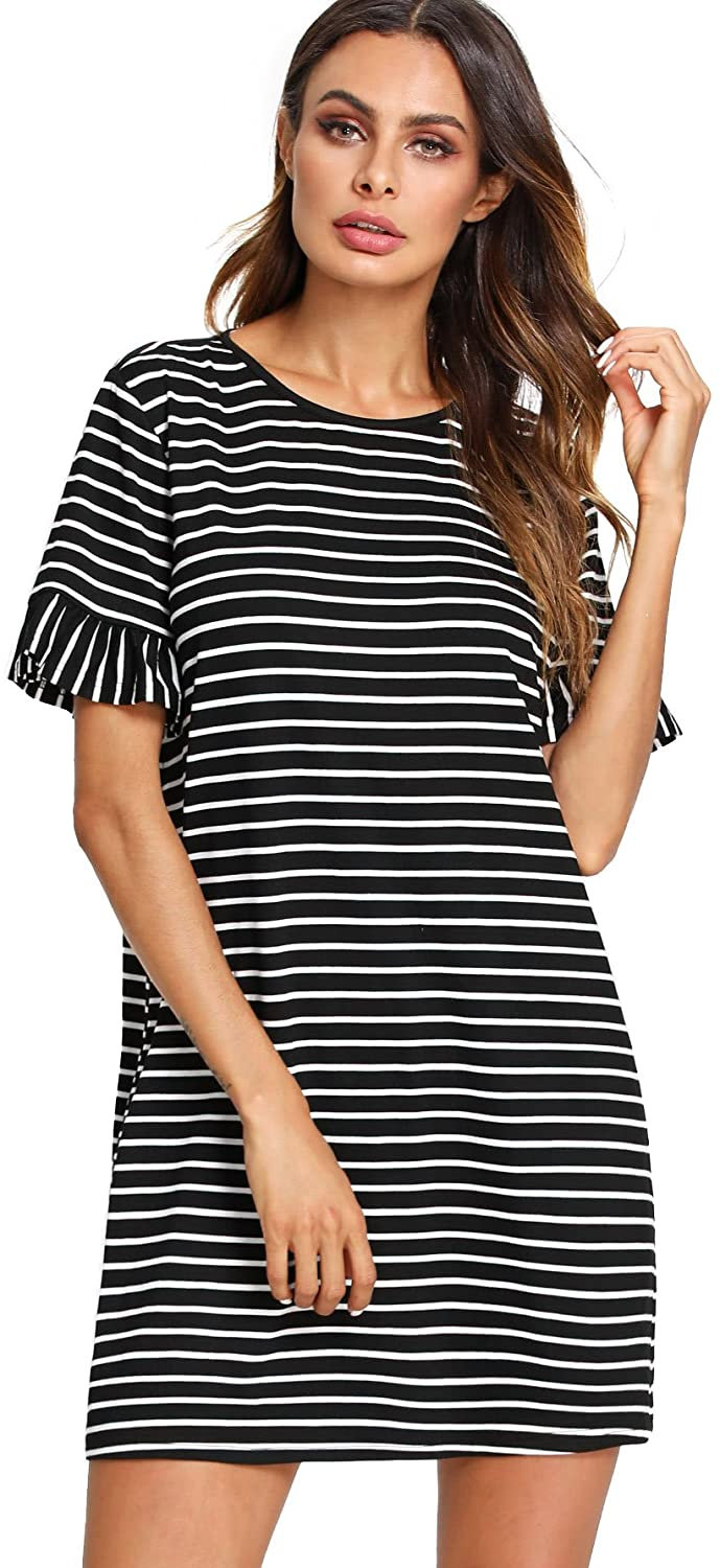 Floerns Women's Summer Casual Ruffle Short Sleeve Tunic Striped T-Shirt Dress