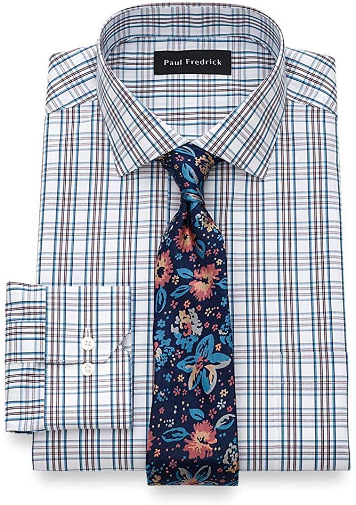 Paul Fredrick Men's Tailored Fit Non-Iron Cotton Tattersall Dress Shirt