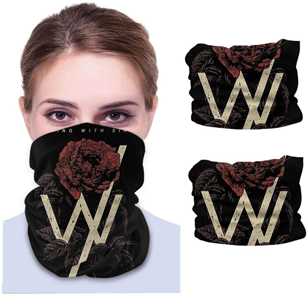 Sleeping With Sirens Neck Gaiter Face Scarf-Dust, Sun Protection Cool Lightweight Windproof